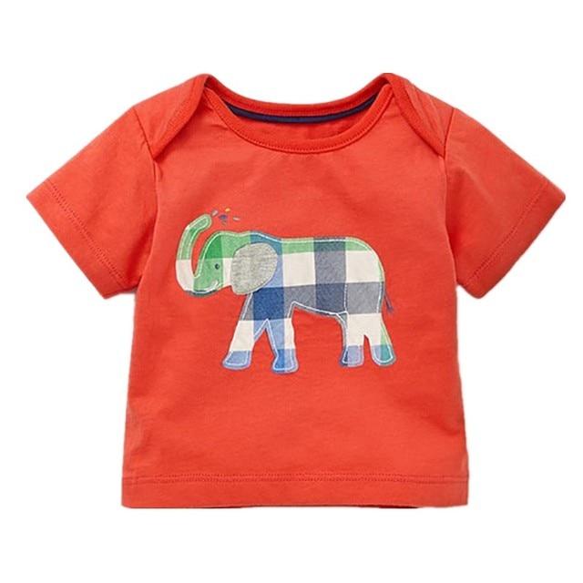 Little Maven New Summer Children Clothing Cute Short O-neck Elephant Applique Quality Striped Cotton Boys Casual Tshirt
