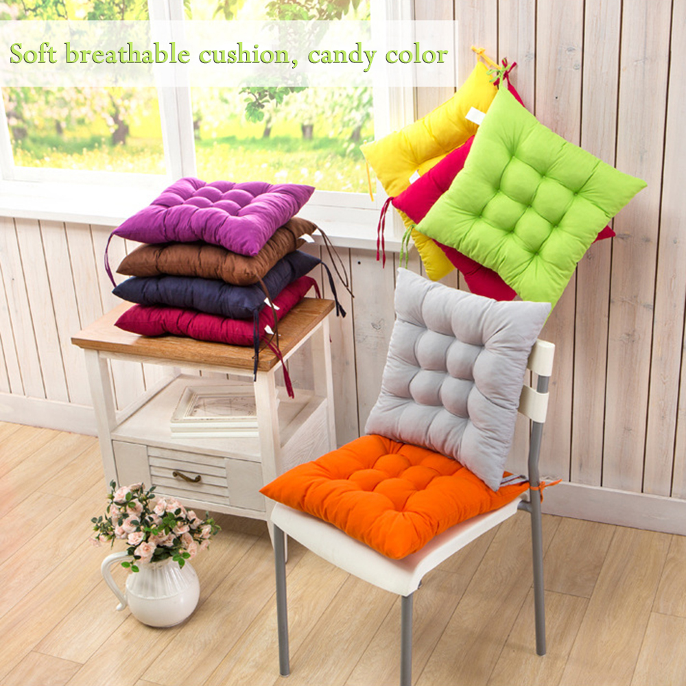 11 Colors Solid Cushion Mat Cotton Chair Seat Pads With Cord 40*40CM For  Patio
