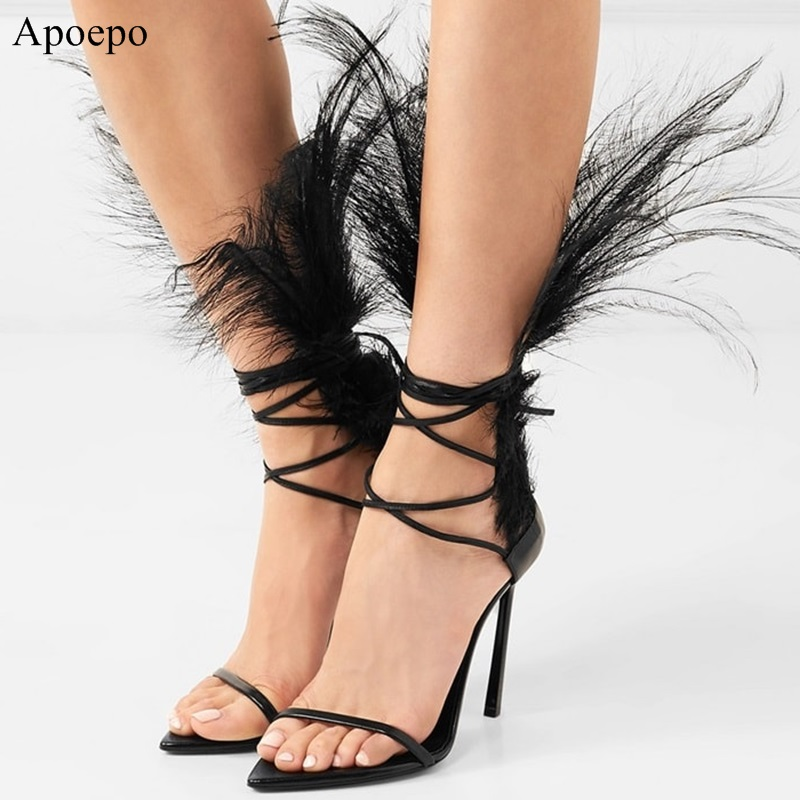 2018 Feather Design Crystal Embellished Peep Toe Women Sandals Sexy Thin High Heel Walkway Stage Cross-tied Lace Up Sandals B159 grisewood e edit shrek the third level 3 cd