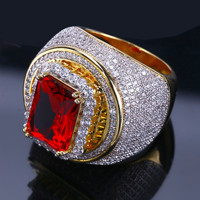 Hip Hop Classic Gold Color Plated Cubic Zircon Big Red Stone Ring Personality Fashion Men Women Jewelry Lover Gift