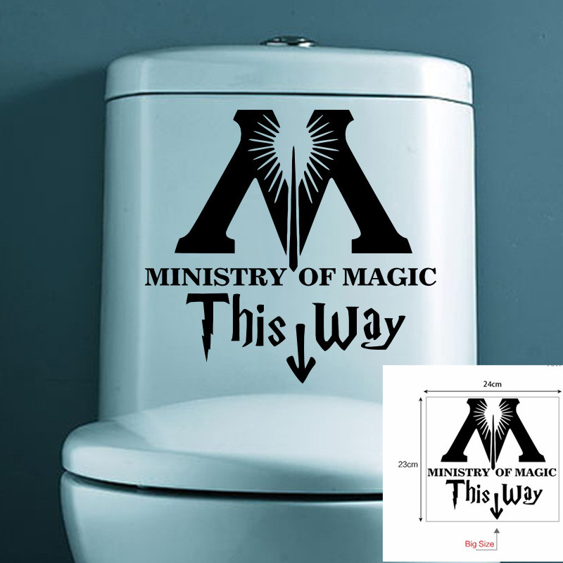 23*24cm Ministry Of Magic This Way Toilet Door Fancy Wall sticker Harry Potter Movie Parody Removable Decor Decal Wall Quotes
