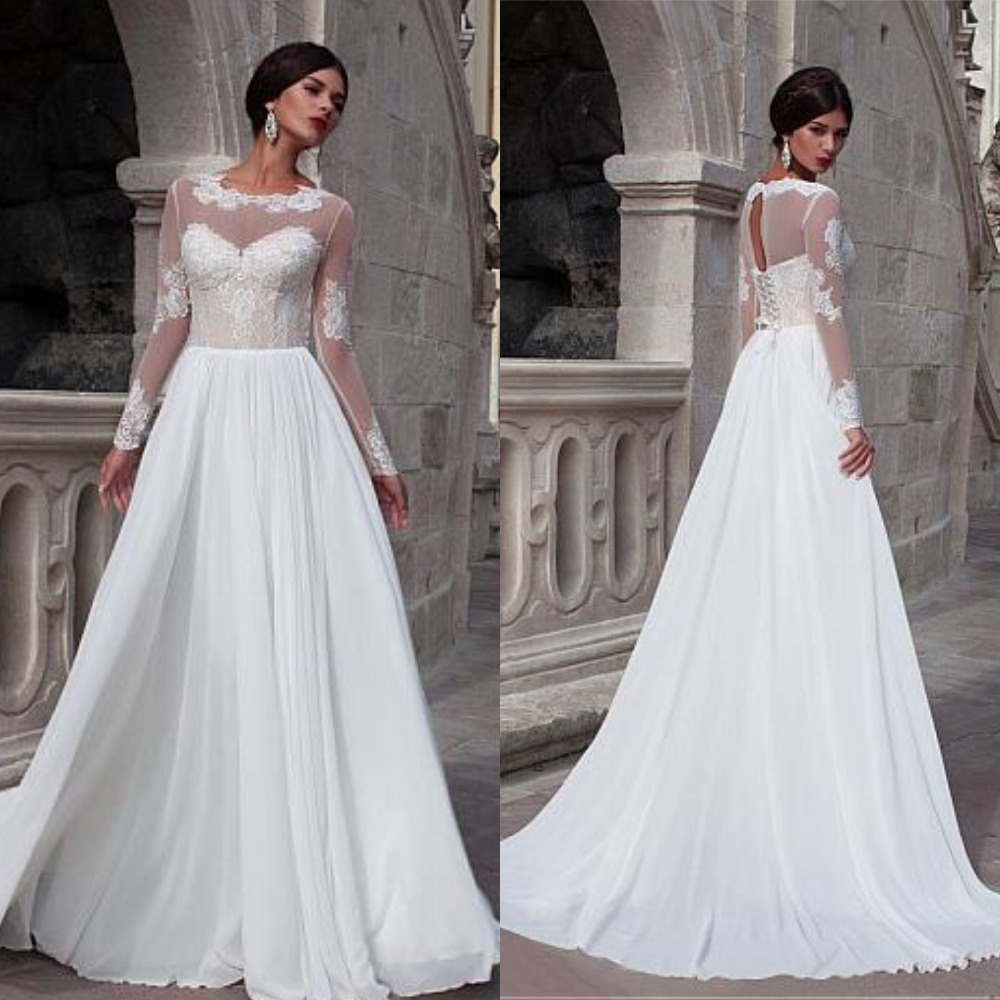 Elegant Chiffon A-line Wedding Dress With Lace Appliques Bridal Gowns With Sleeve Illusion Applique Bridal Gowns Casamento