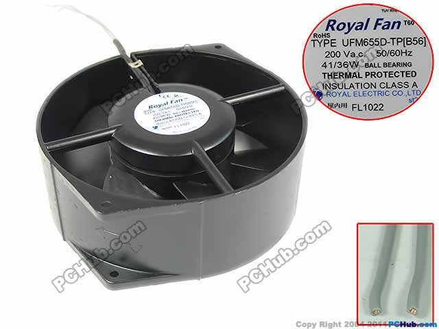 Emacro For Royal Fan UFM655D-TP Server Round Fan AC 200V 41/36W 172x150x55mm 2-wire free shipping emacro fujitsu uf 15kmr23 bwhf ac 23v 45w 2 wire 110mm 172x150x55mm server round cooling fan