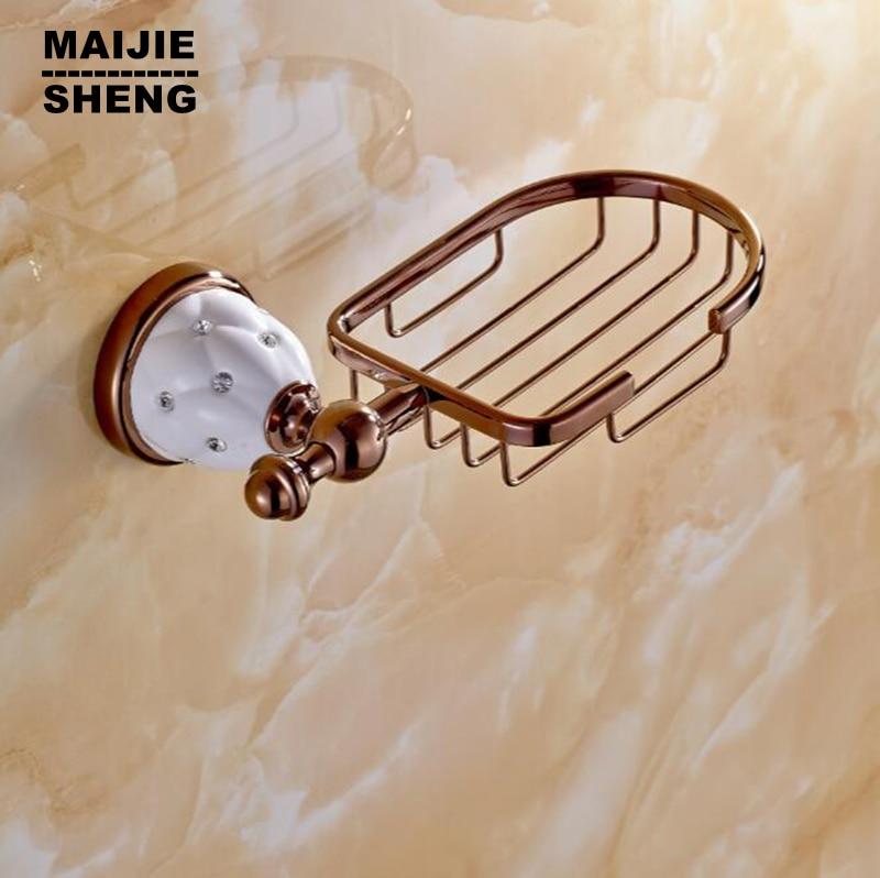 Bathroom New rose Golden brass Soap basket /soap dish/soap holder /bathroom accessories,bathroom furniture toilet vanity