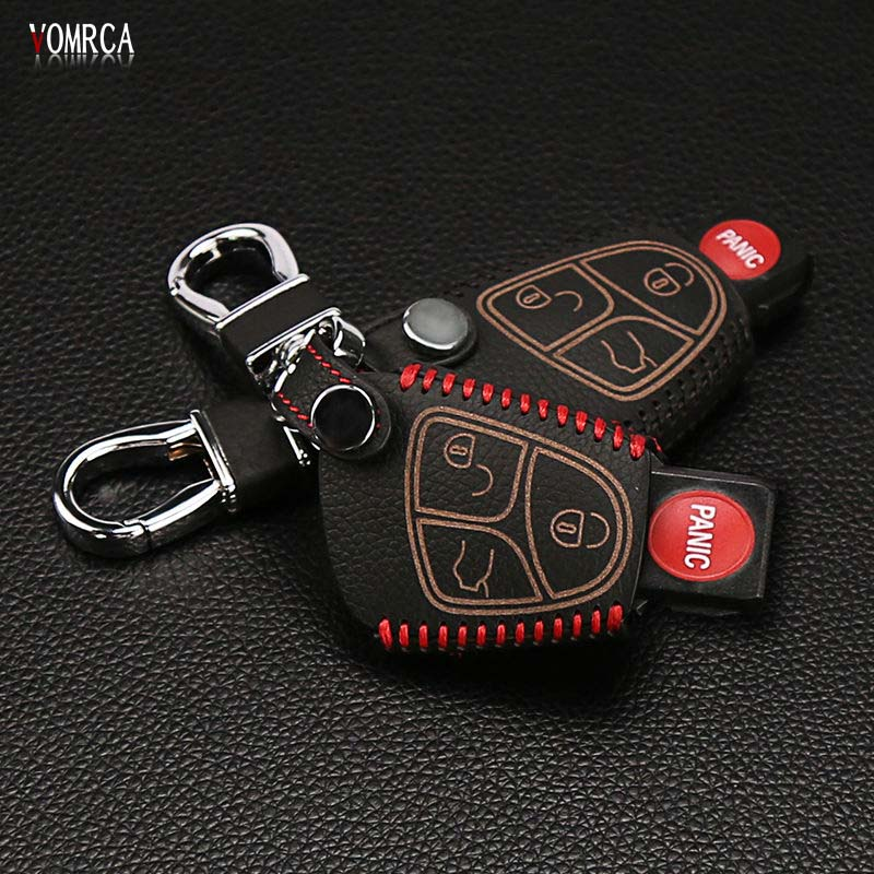 Mais recente projeto 100% couro caso chave do carro adequado para Mercedes-Benz BCE ML S AMG CLK CL 3B 3BT 3 botão chave do carro saco de carro styling