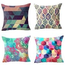 Geometric Pattern Linen Pillowcase Pillow Cover  Square Pillow Cover