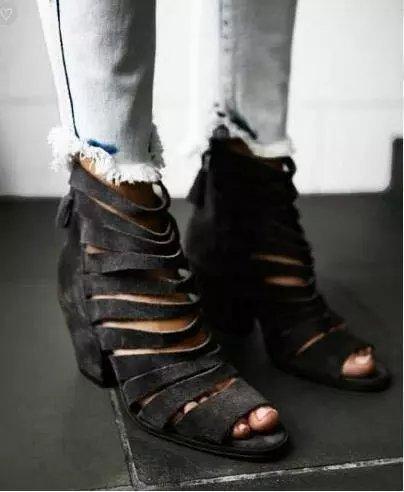 2017 Unique Design Party Dress Shoes Women Open Toe High Heel Promotion Spring Summer Booties Vintage Cut-outs Ankle Boots unique design women 2018 spring summer