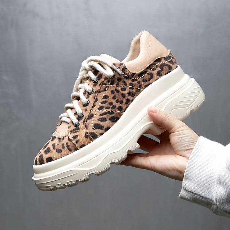leopard Lacets Creepers Plate Dames Daim À Sneakers Décontracté Noir forme En Plats Printemps Pour Appartements Léopard Cuir Femmes Chaussures 2019 Mocassins UfRqvUSa