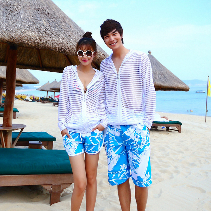 The Real Thing Sun Protection Couple Clothes Fluorescent Color Stripe Couples Beach Clothes Long ...