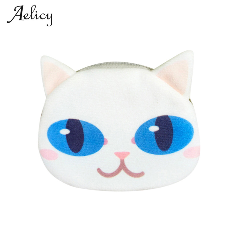 Aelicy 2018 Top Fashion 3D Cute Cat Face Printing Zipper Coin Purses Cotton Fabric Carto ...