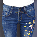 2017 Spring fashion new stylish flowers embroidered elastic high waist slim fit casual denim jeans pants for women