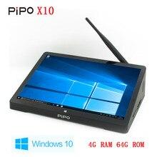 Nuevo 1920*1280 10.8 Pulgadas PIPO Z8300 X10 Mini PC Quad Core de Windows 10 TV Box HDMI Media Box Mini Caja 4G RAM 64G ROM envío Gratis