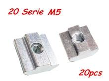 20pcs/lot T Sliding Nut Block Square nuts M5 for 2020 Aluminum Profile Slot Zinc Coated Plate Aluminum connector Accessories(China (Mainland))