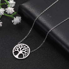 My Shape Family Tree Stainless Steel Pendant Necklace Lucky Plant Choker Necklaces Festival Jewelry Anniversary Gifts
