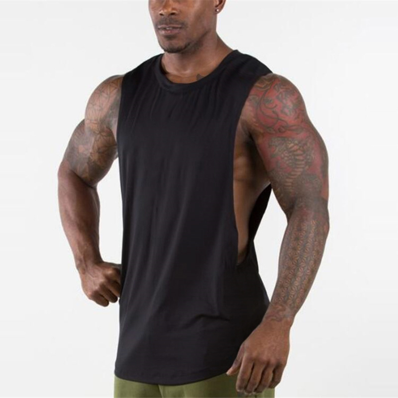 Brand New Plain   Tank     Top   Men Gyms Stringer Sleeveless Shirt Open Sides Blank Fitness Clothing Cotton Sportwear Muscle Vest