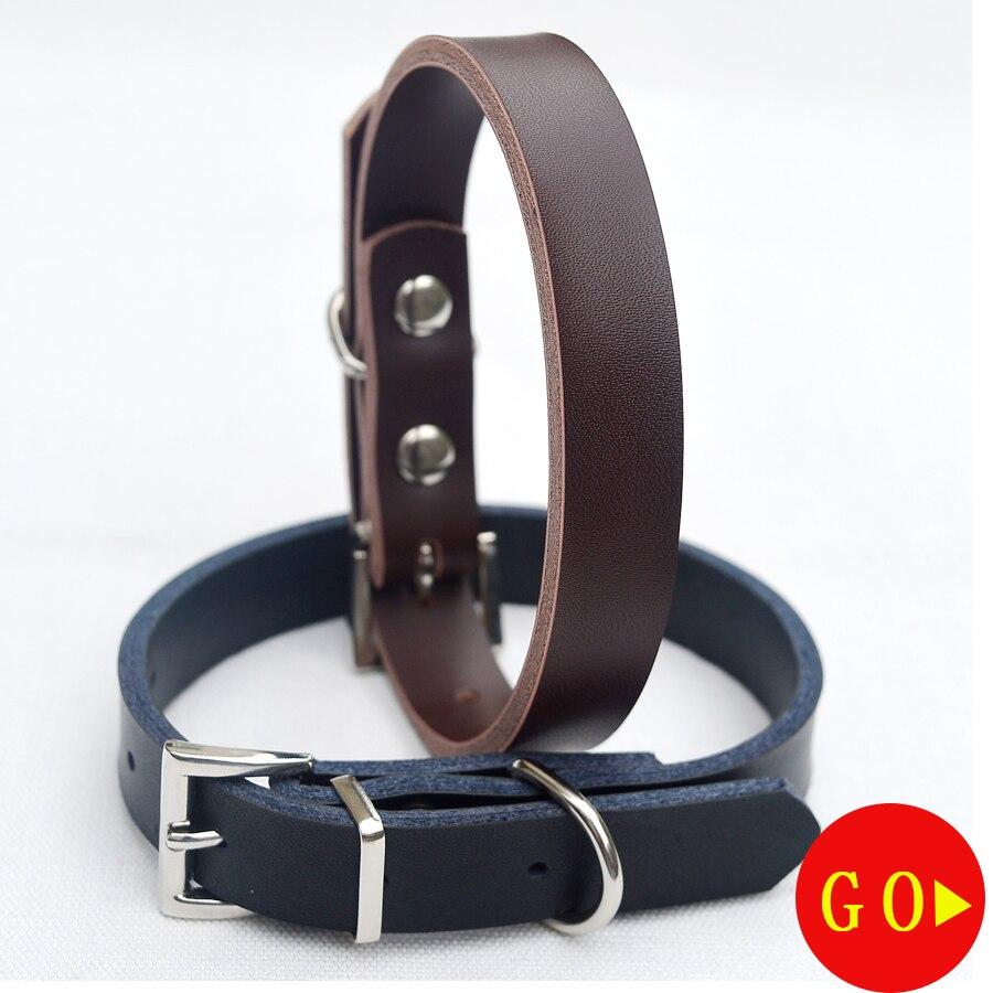 Collar de Perro de Cuero genuino Collar de Perro Ajustable Pequeño Estándar Moda