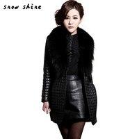 Snowsong #3503 Phụ Nữ Mùa Đông Faux Fur Da Dài Tay Áo Áo Khoác Áo Khoác Ngoài Khoác Dài miễn phí vận chuyển bán buôn