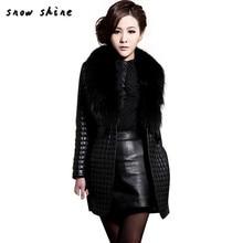 snowshine  #3001 Women Winter Faux Leather Fur Long Sleeve Coat Jacket Outerwear Long Overcoat    free shipping wholesale