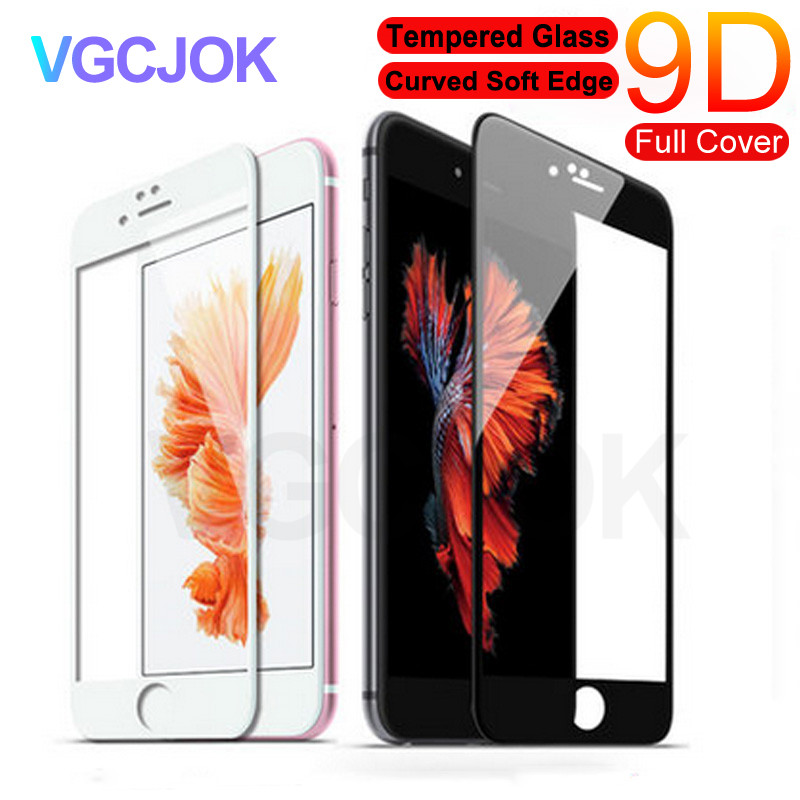 9D Curved Full Cover Tempered Glass On For IPhone 7 8 6 6S Plus Screen Protector For IPhone X XR XS Max Protective Film Case