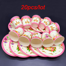 20/40PCS Happy birthday decoration disposable tableware set with Unicorn party plates cups for kids girl favor Unicorn table set