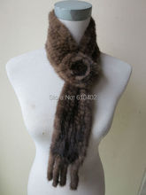 wholesale/fashion  Free shipping /real mink knitted fur scarf/ brown