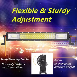 """Image 2 - 22 """"34"""" 42 """"50 inç tri row kavisli LED ışık çubuğu SUV ATV Uaz UTV 4x4 12V tekne kamyon Offroad Combo kirişler Barra çalışma lambaları"""