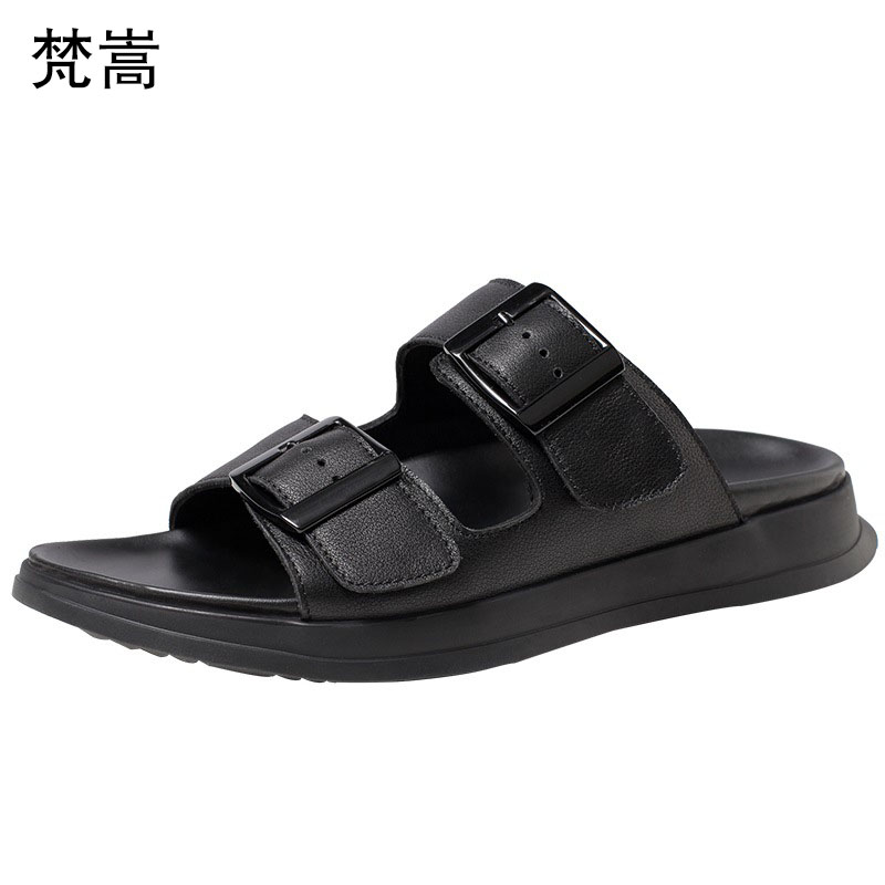 genuine leather summer trendy mens outdoor slippers men personality sandals fender