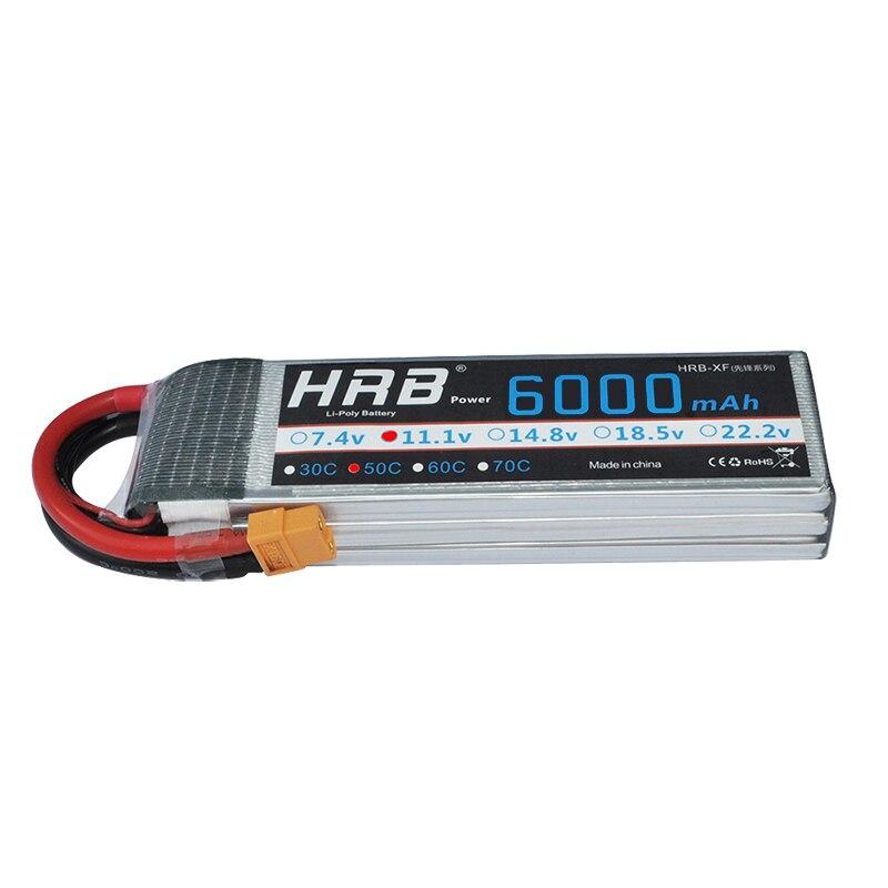 2pcs HRB Li Poly Lipo Battery 11 1V 6000mAh 50C 100C 3S RC Car Lipo For