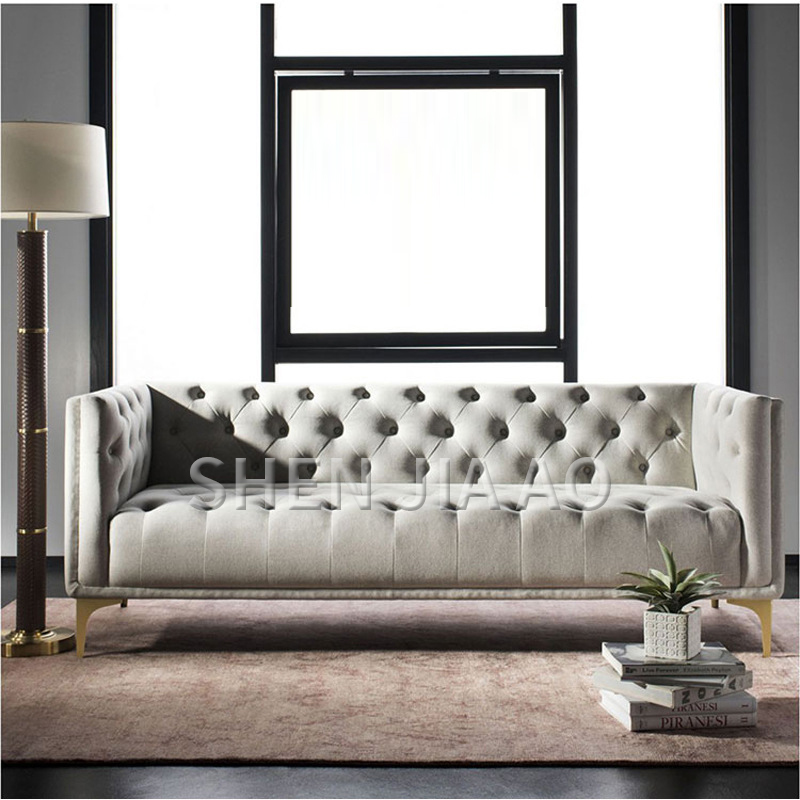 Light Luxury Three person Living Room Sofa Flannel Simple Sofa Postmodern Neoclassical Style Modern Gold Feet Sofa 1PC