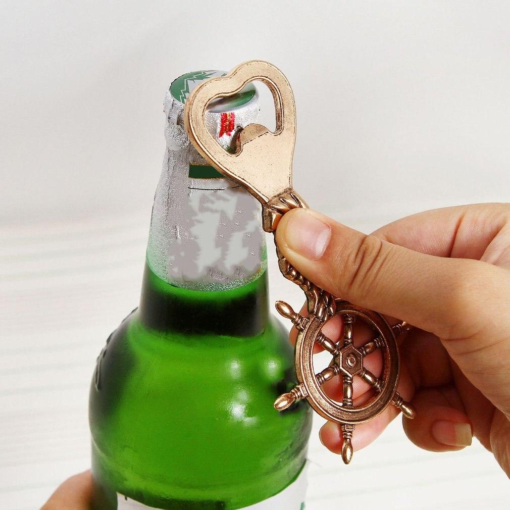Uniuqe металлический корабль штурвала Форма открывалка для бутылок пива под старину Свадебные Кухня День рождения подарок сувенир для друзей