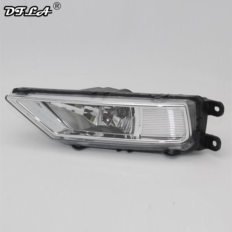 Left Side Car Light For VolksWagen VW Tiguan 5N 2016 2017 2015 Car-Styling Front Bumper Halogen Fog Light Fog Lamp With Bulbs right side for vw polo vento derby 2014 2015 2016 2017 front halogen fog light fog lamp assembly two holes