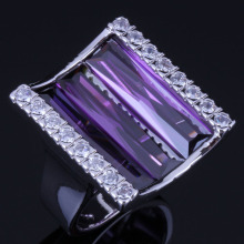 Alluring Rectangle Purple Cubic Zirconia White CZ 925 Sterling Silver Ring For Women V1063