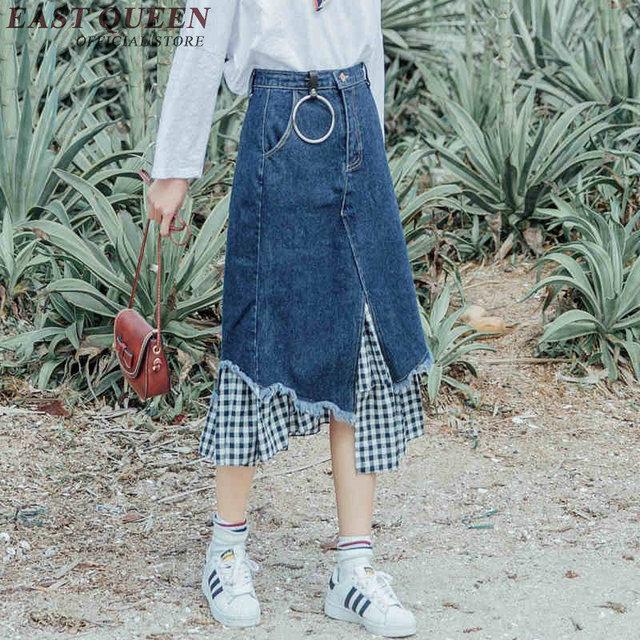 821e23b0ee6 Модные джинсовые юбки до колен женские летние длинные джинсовая юбка миди в  стиле пэчворк с плед