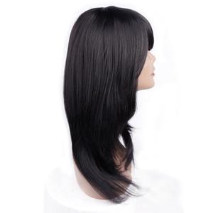 Image 3 - אמיר בינוני אורך ישר סינטטי פאה עבור נשים טבעי Ombre שחור כדי אדום צבע שיער עם פוני חום עמיד