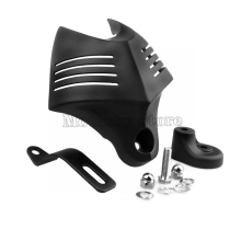 Motorcycle Black Big Twin Horn Cover Stock Cowbell Horns For Harley Dyna Glide Street FXDB Fat Bob Twin Cam 88 96 Electra EVO недорого