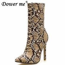 f1a3a3c76ce6b Zapato بوتاس الخريف تشيلسي أحذية النساء سستة الأحذية ثعبان طباعة حذاء من الجلد  عالية الكعب الأزياء