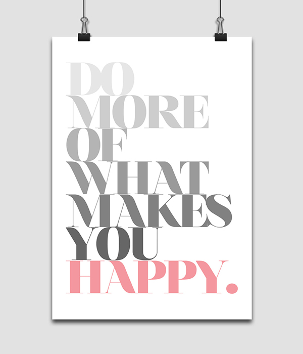 print wall decor art poster retro print happiness pink greyscale