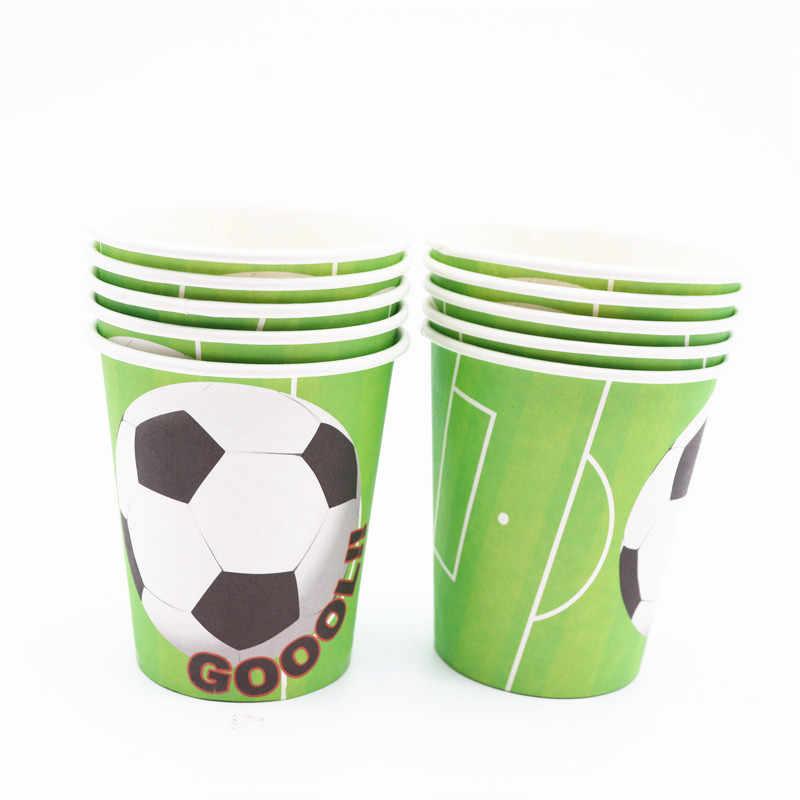 Verde de Futebol Esporte Tema Da Bandeira de Futebol Copo Faca Crianças Meninos Bebê Fontes do Evento da Festa de Aniversário Decorativa