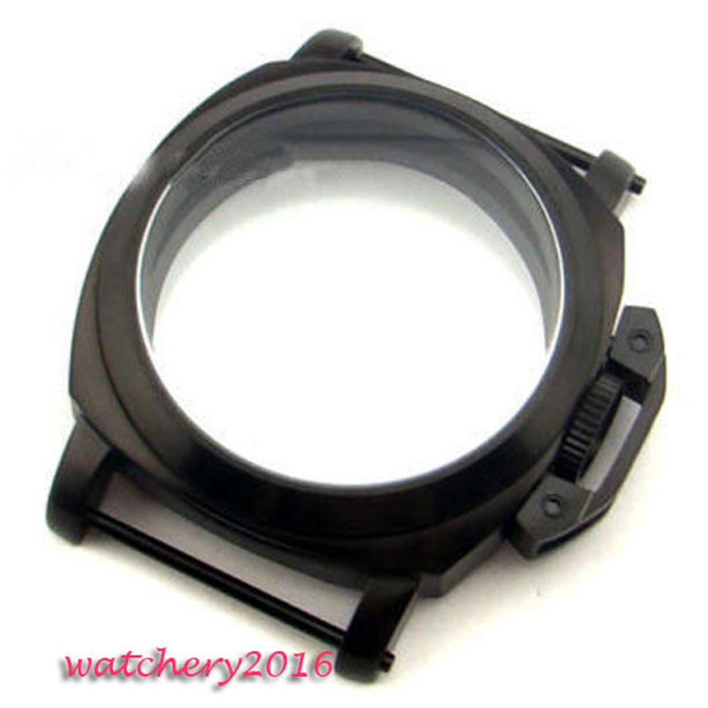 7f595f30e4a Caso endurecido 44mm PVD preto de aço inoxidável de Alta qualidade em forma  de Vidro 6497