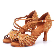 BD211 Heel 7.5cm Silk Satin Apricot And Brown Latin Dance Shoes Champagne Color Rhinestone Salsa Shoes Woman Zapatos De Mujer