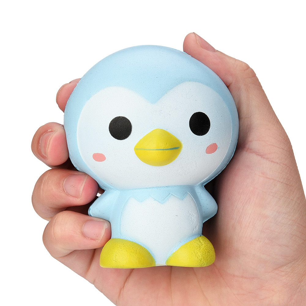 MUQGEW 9cm Cute Penguin Squeeze Fun Cartoon Scented Squishy Charm Slow Rising Squeeze Toy Charm Fun Stress Reliever Gifts