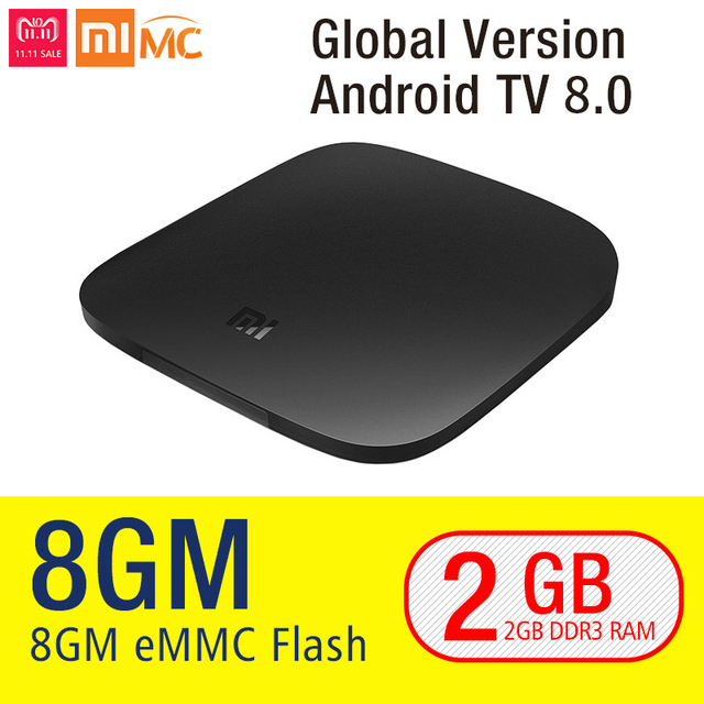 Original Xiaomi MI TV BOX 3 Smart 4K Ultra HD 2G 8G Android 8.0 Movie WIFI Google Cast Netflix Red Bull Media Player Set-top Box