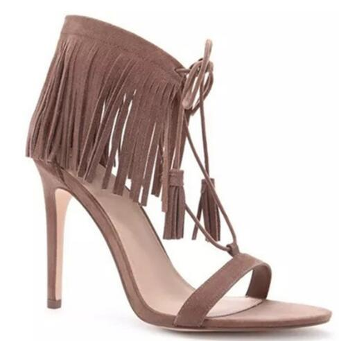 Summer new fringe open toe high heel lace-up sandals for ladies Women sexy super high thin heel sandals Female dress shoes ethnic women high heel fringe sandals fur tassel ankle wrap lace up dress shoes sexy cut out mixed colors summer dress shoes