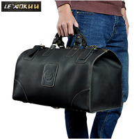 Quality Crazy Horse Leather Male Larger Capacity Retro Design Handbag Duffle Luggage Bag Fashion Travel Suitcase Tote Bag 8151b
