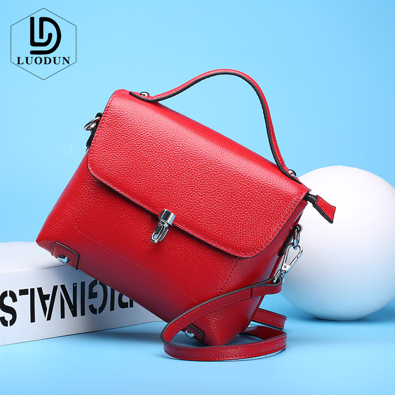 LUODUN Brand spring and summer new Genuine Leather handbags first layer of cowhide shoulder Messenger bag Small party package