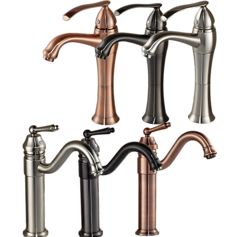 ФОТО 6-styles Bathroom Hot and Cold Water Basin Sink Faucet Single Handle Deck Mounted Washing Basin Mixer Taps