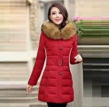 2015 новый! Зимняя куртка женщин средний — длинный тонкий капюшоном енота меховым воротником верхняя одежда пуховик теплый сгущать парки пальто