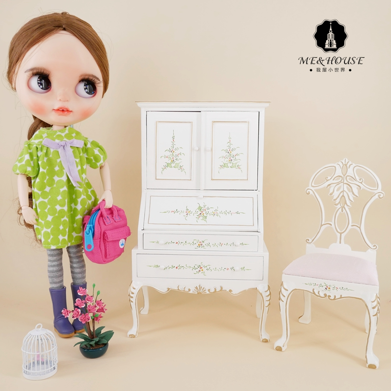 1/6 Scale New BJD Doll House Wooden American Style Desk Cabinet Miniature Handmade Pretend Mini Furniture Doll Furniture