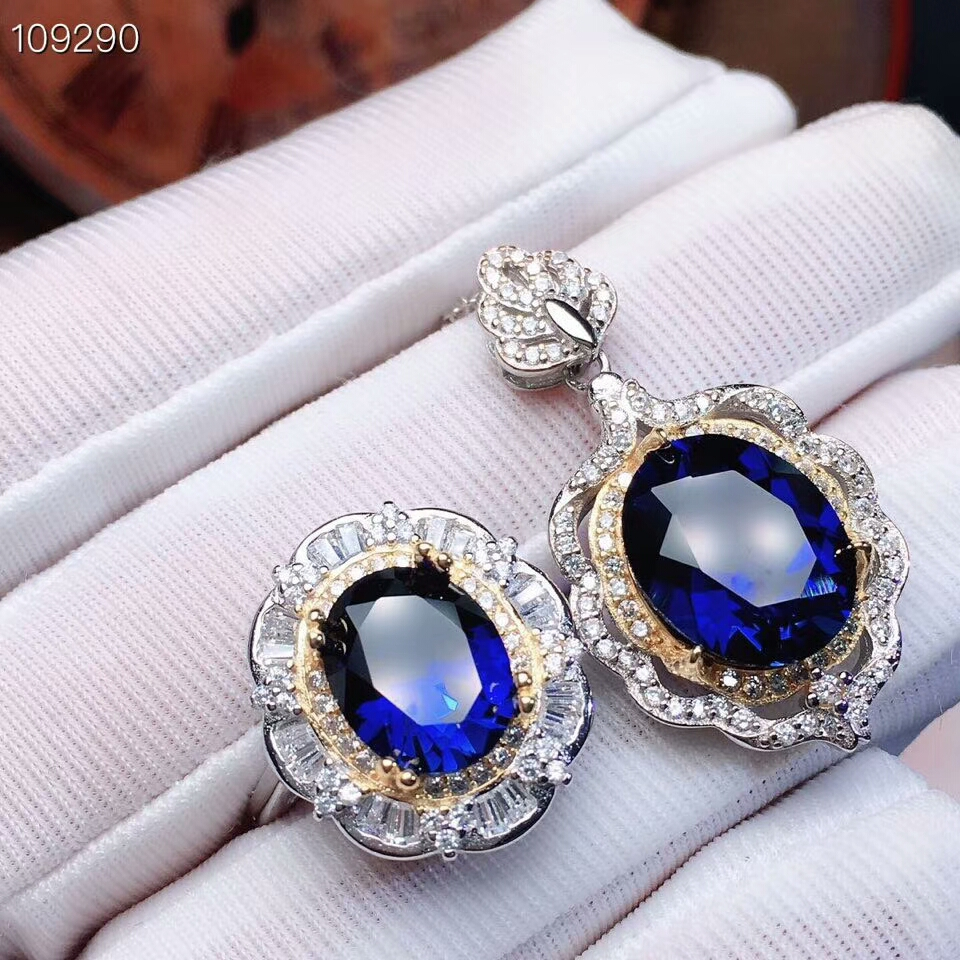 MeiBaPJ Perfect Sapphire Gemstone Jewelry Set 925 Sterling Silver 2 Siut Fine Luxurious Wedding Jewelry for