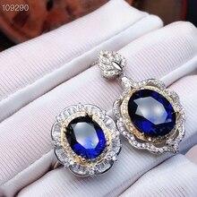 MeiBaPJ Perfect Sapphire Gemstone Jewelry Set 925 Sterling Silver 2 Siut Fine Luxurious Wedding Jewelry for Women
